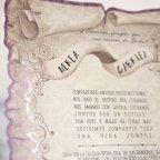 Invitación de boda papiro morado, Cardnovel 39215 texto