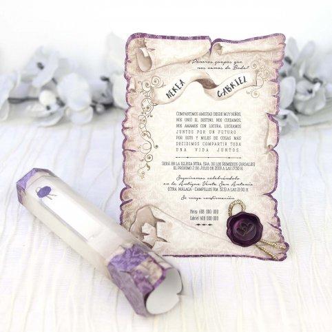 Lila Papyrus Hochzeitseinladung, Cardnovel 39215