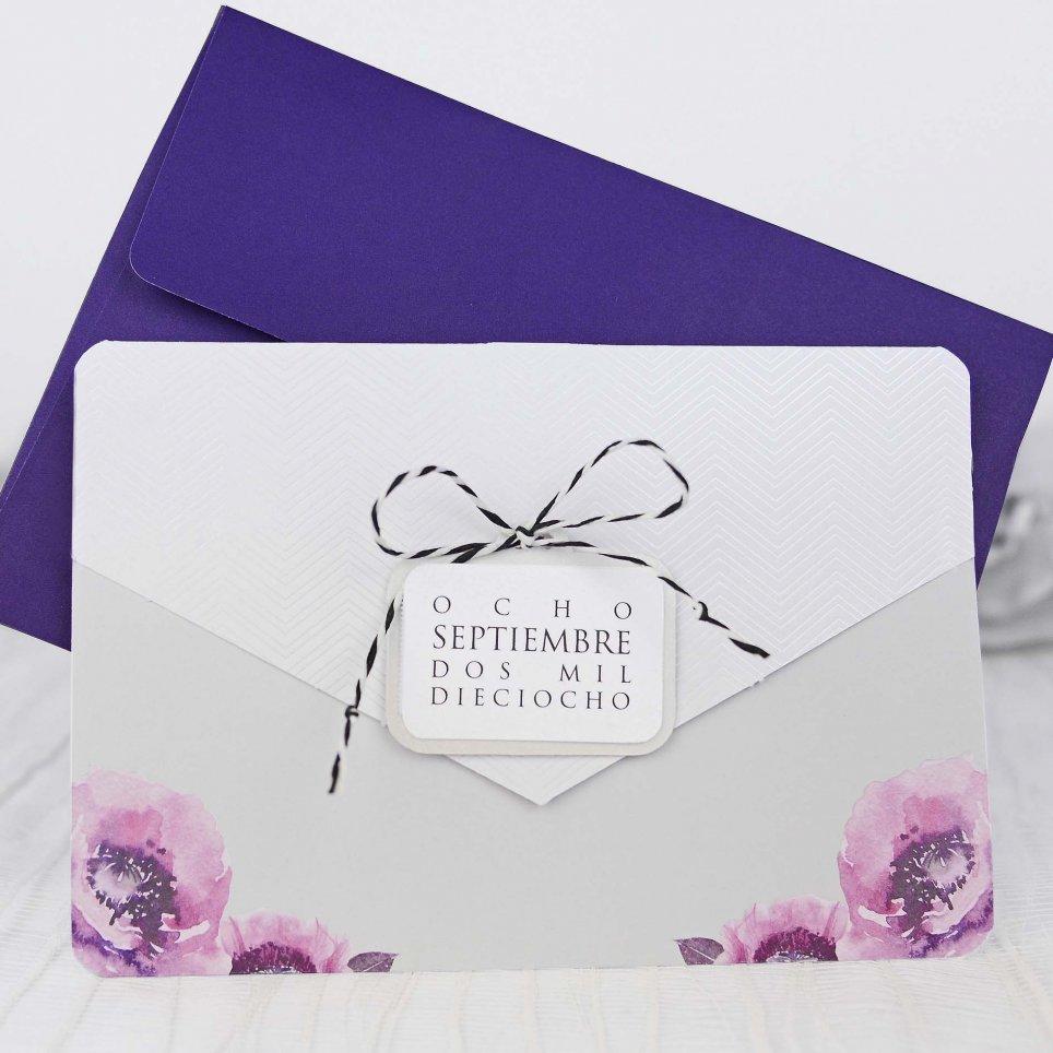 Invitación de boda sobre con rosas, Cardnovel 39216
