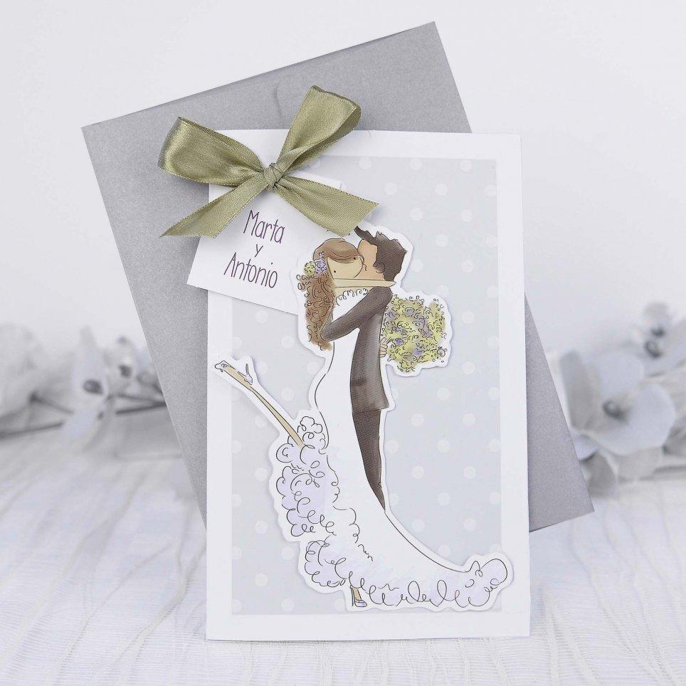 Invitación de boda abrazo, Cardnovel 39217