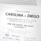 Invitación de boda zig zag, Cardnovel 39234 texto