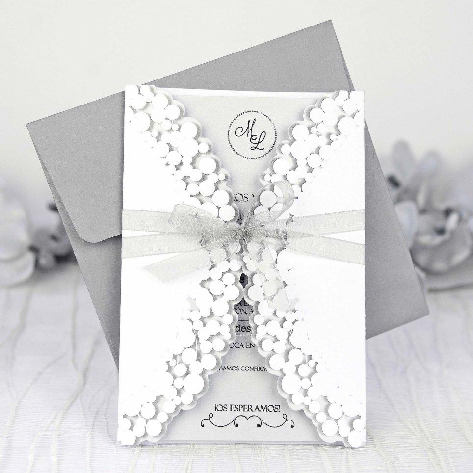 Invitación de boda lazo gris, Cardnovel 39233