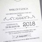 Invitación de boda lazo gris, Cardnovel 39233 texto