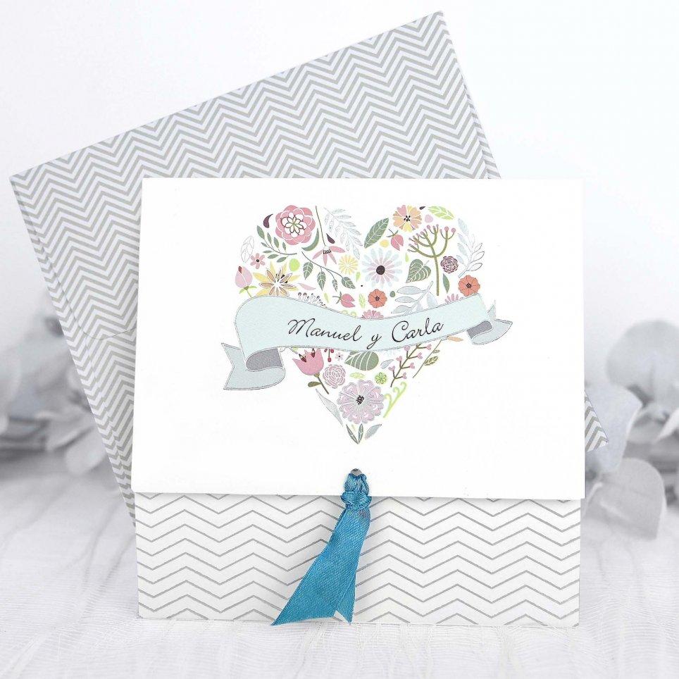 Blumenherz-Hochzeitseinladung, Cardnovel 39232