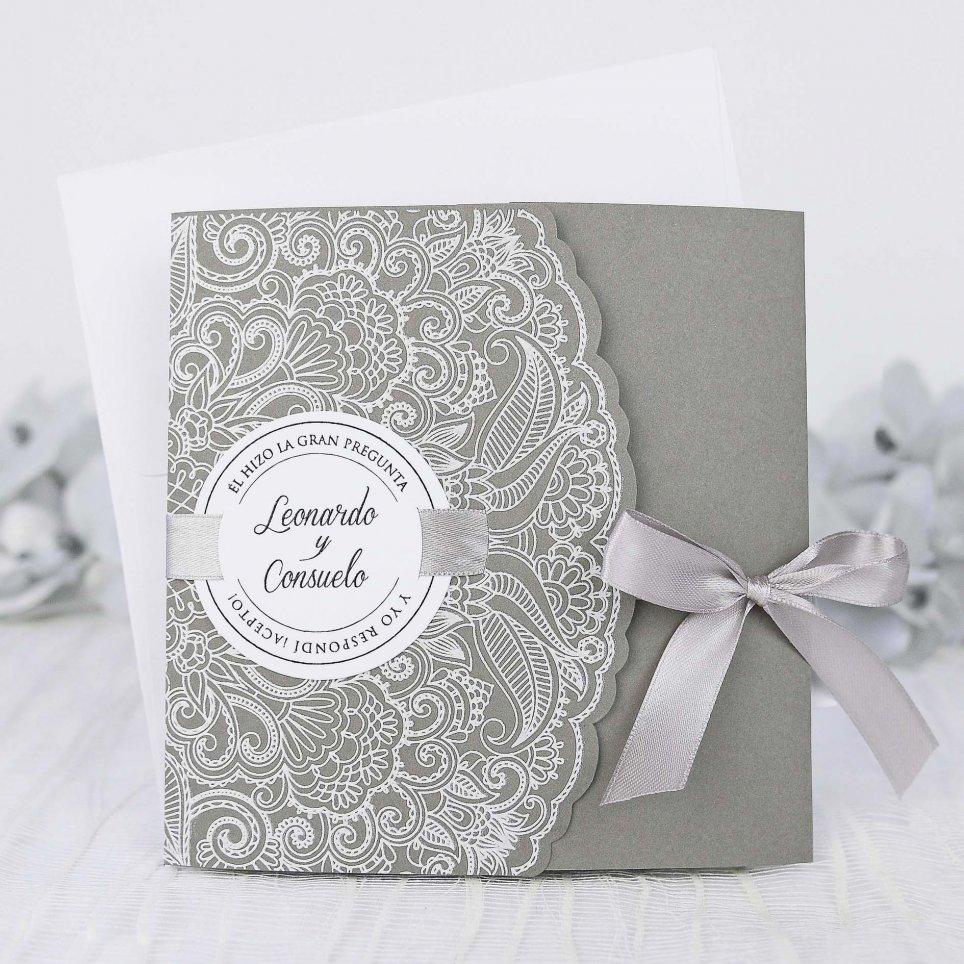 Hochzeitseinladung auf grau, Cardnovel 39231