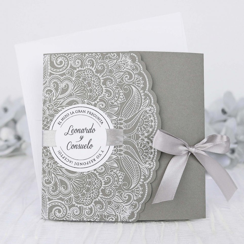 Wedding Invitation on Grey, Cardnovel 39231