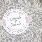 Invitación de boda sobre gris, Cardnovel 39231 tarjeta