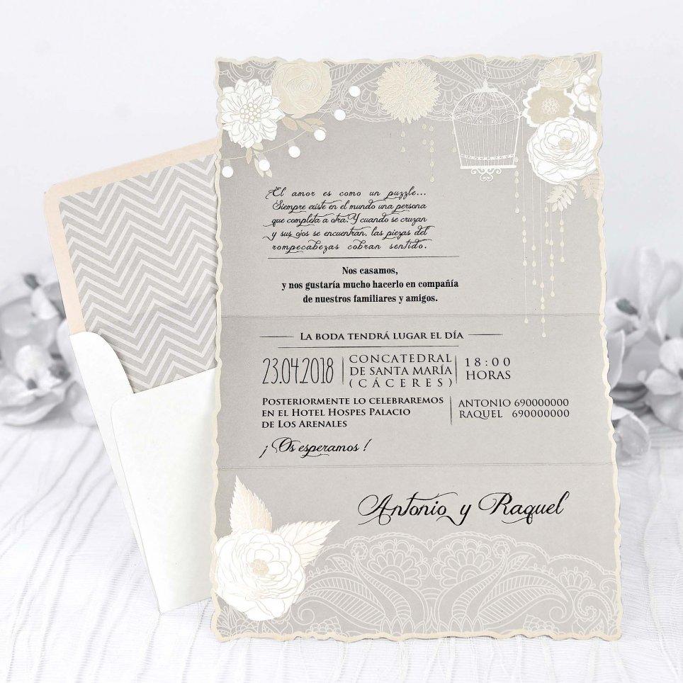 Invitación de boda rosas en nacar, Cardnovel 39228