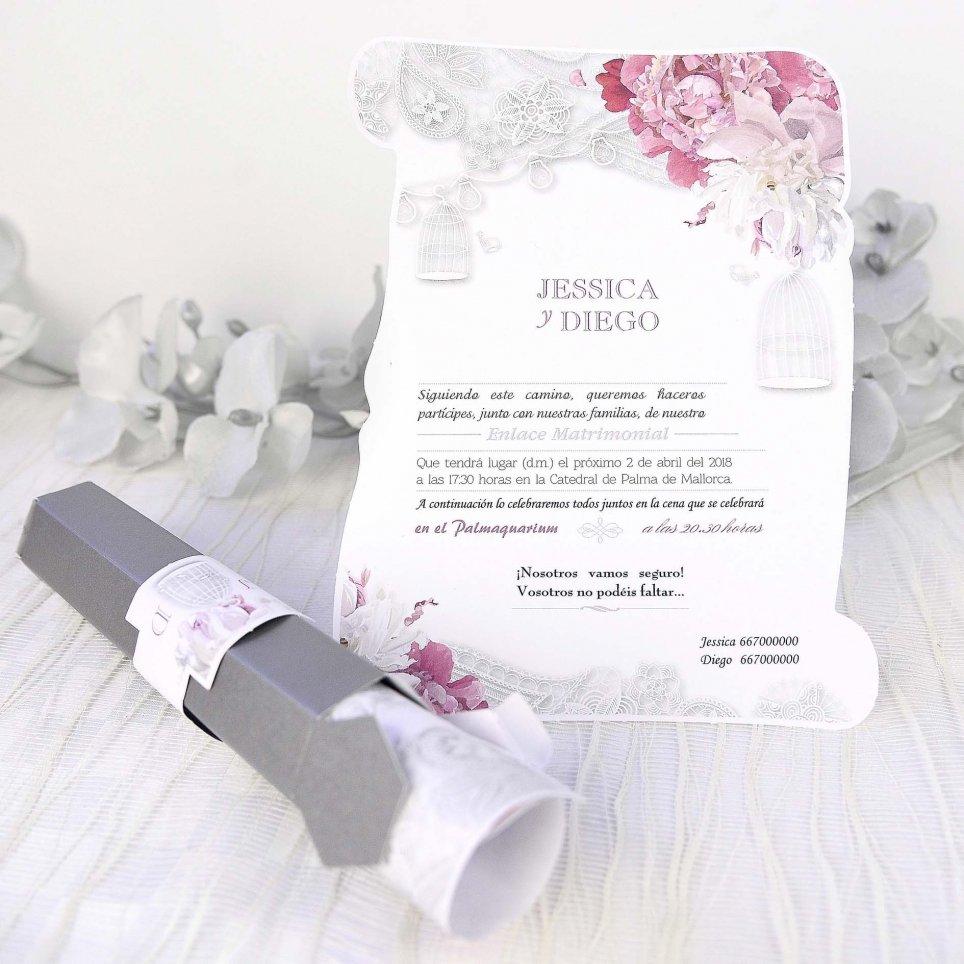 Invitación de boda pergamino rosas rosas, Cardnovel 39227